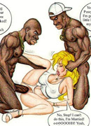 Three horny black guys undressing anf gonna fuck sexy toon blonde in short dress.