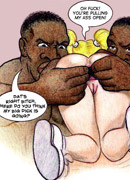 Cartoon interracial pics of blonde stunner gets doublepentrated by huge black peckers.