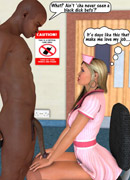 White 3d girl can't stand their strong desire and willingly getting it on with black guys.